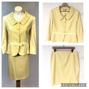 Tahari MOTB summer suit skirt blazer yellow 12